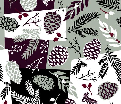 Pine Sprigs & Cones - Elegant Holiday fabric by fernlesliestudio on Spoonflower - custom fabric