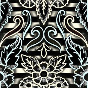 gothic floral stripe damask in ivory, sky, and black