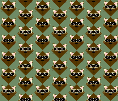 Raccoon in the Woods-large fabric by kae50 on Spoonflower - custom fabric