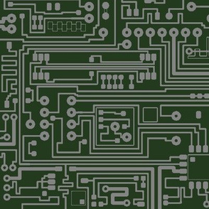 Circuit Board // Dark Grey on Green // Large
