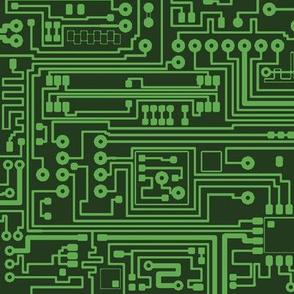 Circuit Board // Light on Dark Green // Large