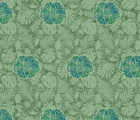 Vintage Tiki Floral - Green Cottons fabric by piper_&_paige on Spoonflower - custom fabric
