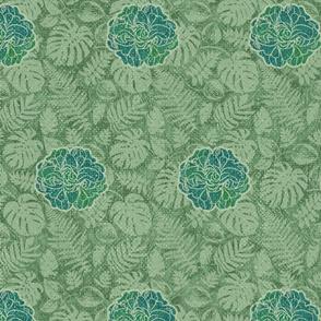 Vintage Tiki Floral - Green Cottons