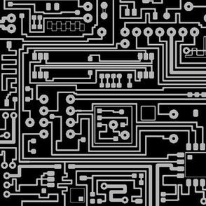 Circuit Board // Grey on Black // Large