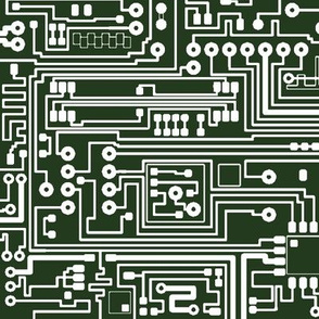 Circuit Board // White on Green // Large