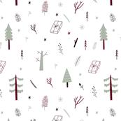 Hand drawn deep forest pattern