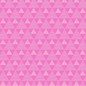 stripy triangles small scale - pink background