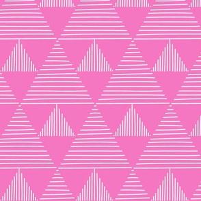 stripy triangles - pink background