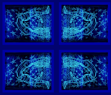 Acrobatty Print-Cobalt/aqua V fabric by cloudsong_art on Spoonflower - custom fabric
