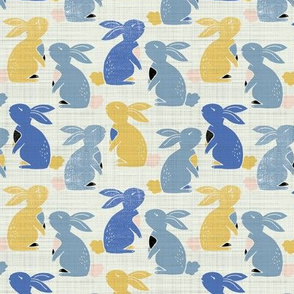 vintage  bunny rabbits - yellow and blue