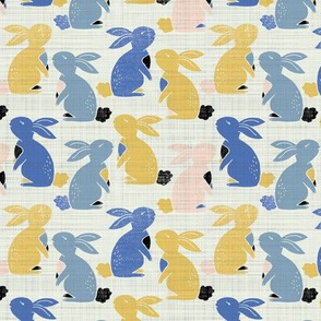vintage bunny rabbits - blue and yellow