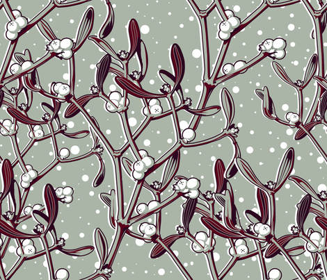 It snows on the mistletoe fabric by chicca_besso on Spoonflower - custom fabric