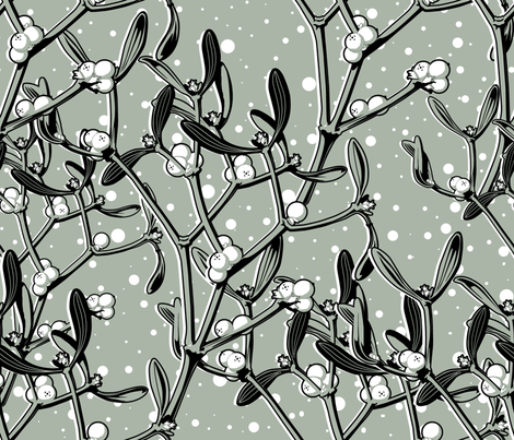 It snows on the mistletoe (gray)   fabric by chicca_besso on Spoonflower - custom fabric