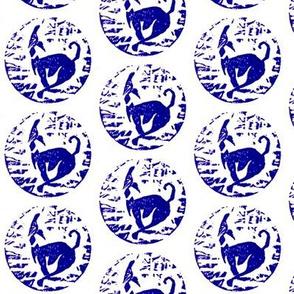 Hoppity hound Block print-purple