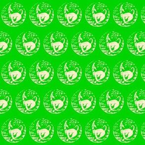 Spring hound Block print-Sand/spring green