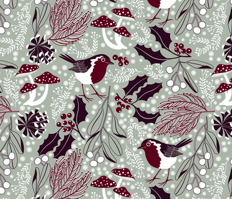 woodland holiday fabric by cjldesigns on Spoonflower - custom fabric
