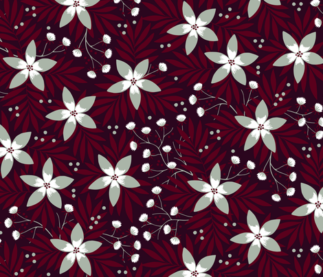 Winter floral on dark red fabric by heleen_vd_thillart on Spoonflower - custom fabric