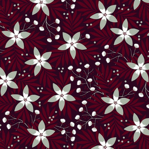 Winter floral on dark red