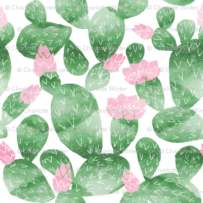 cactus (small scale) watercolor botanical desert southwest cacti fabric white green