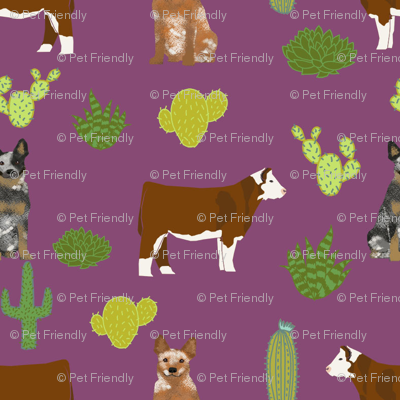 australian cattle dog with cattle (smaller scale) red heeler and blue heeler fabric purple