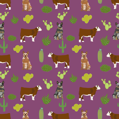 australian cattle dog with cattle (smaller scale) red heeler and blue heeler fabric purple fabric by petfriendly on Spoonflower - custom fabric