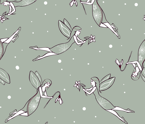 Snow Fairies fabric by elisabethnoel on Spoonflower - custom fabric