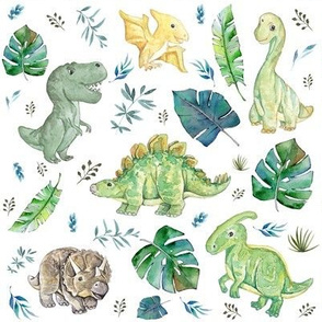 "8"" Green & Blue Baby Dinosaurs / White - Version 2"