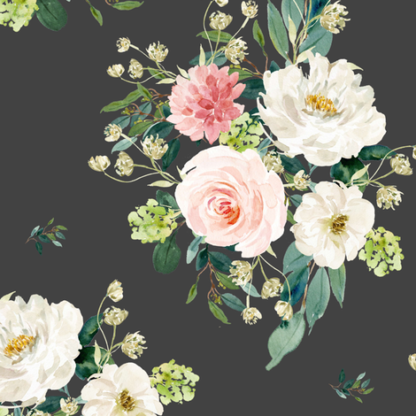 """10.5"""" Pink and White Floral Bouquet - Dark Grey fabric by shopcabin on Spoonflower - custom fabric"""