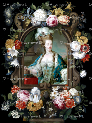Marie Antoinette queen france french crowns palace flowers floral fleur de lis baroque rococo roses royal portraits gowns victorian elegant gothic lolita egl pouf 18th century Bouffant capes historical  floral border  ballgowns neoclassical  princesses ro