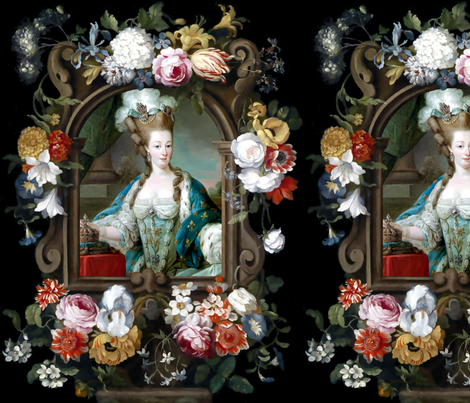 Marie Antoinette queen france french crowns palace flowers floral fleur de lis baroque rococo roses royal portraits gowns victorian elegant gothic lolita egl pouf 18th century Bouffant capes historical  floral border  ballgowns neoclassical  princesses ro fabric by raveneve on Spoonflower - custom fabric