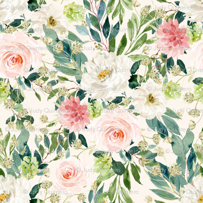 """4"""" Pink and White Garden - Ivory"""
