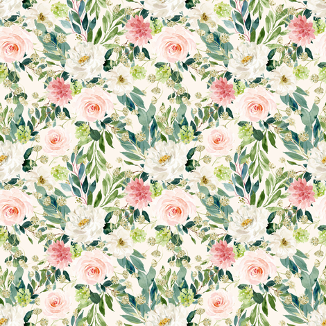 """4"""" Pink and White Garden - Ivory fabric by shopcabin on Spoonflower - custom fabric"""