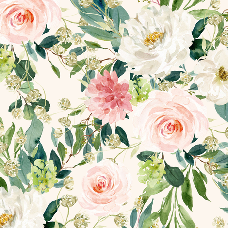 """10.5"""" Pink and White Garden - Ivory fabric by shopcabin on Spoonflower - custom fabric"""