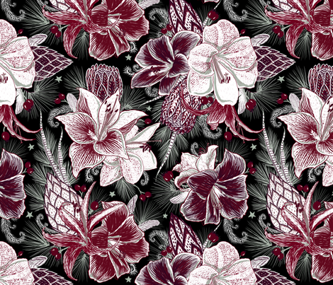 Elegant Holiday Bouquets on black fabric by helenpdesigns on Spoonflower - custom fabric