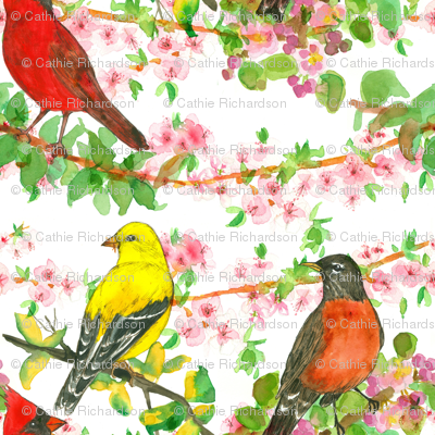 Spring Birds on Peach Blossoms