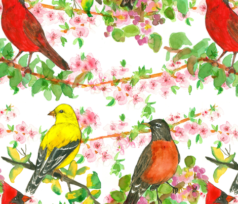 Spring Birds on Peach Blossoms fabric by countrygarden on Spoonflower - custom fabric
