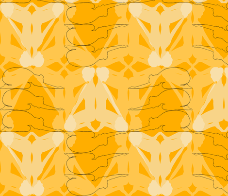 kneeling figure golden fabric by fionapearceburrows on Spoonflower - custom fabric