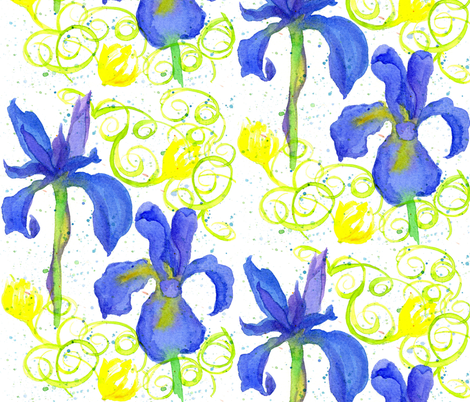 Iris in Royal Blue fabric by countrygarden on Spoonflower - custom fabric