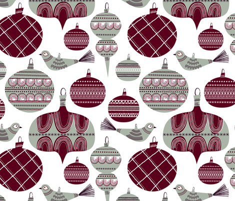 Elegant Holiday Baubles fabric by retrorudolphs on Spoonflower - custom fabric