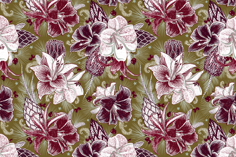 Elegant Holiday Bouquets (dark olive) fabric by helenpdesigns on Spoonflower - custom fabric