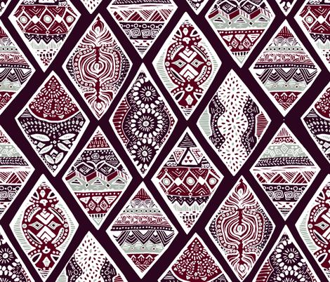 Dark Purple Winter Diamonds in Garnet Red, Rasin Purple and Green Balsam - Big fabric by tigatiga on Spoonflower - custom fabric