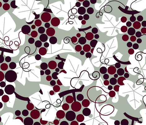 The Elegant Holiday with wine grapes by unPATO fabric by unpato on Spoonflower - custom fabric