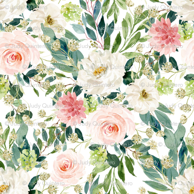 "8"" Pink and White Garden - White"