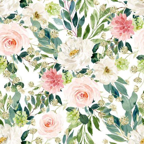 "8"" Pink and White Garden - White fabric by shopcabin on Spoonflower - custom fabric"