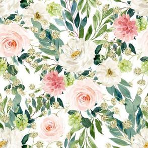 "10.5"" Pink and White Garden - White"