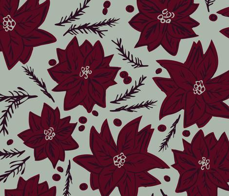 Elegant Holiday Poinsettias fabric by justdani on Spoonflower - custom fabric