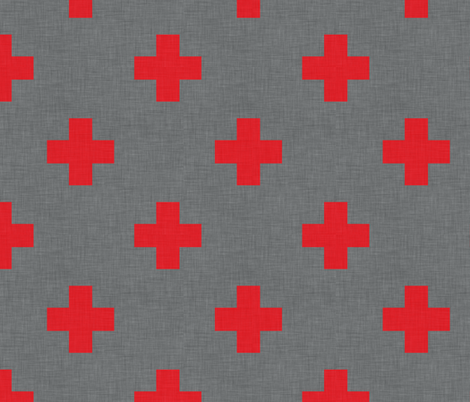 plus one red spaced fabric by holli_zollinger on Spoonflower - custom fabric