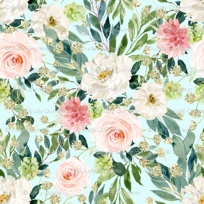 """8"""" Pink and White Garden - Light Blue"""
