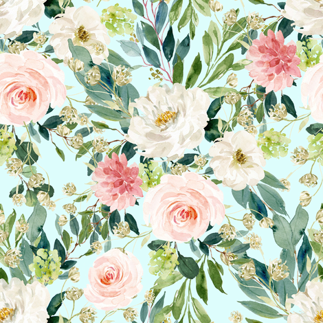 """8"""" Pink and White Garden - Light Blue fabric by shopcabin on Spoonflower - custom fabric"""