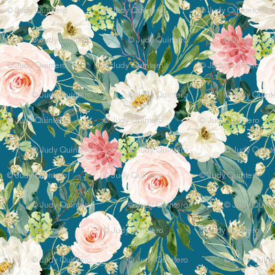 "36"" Pink and White Garden - Deep Blue"